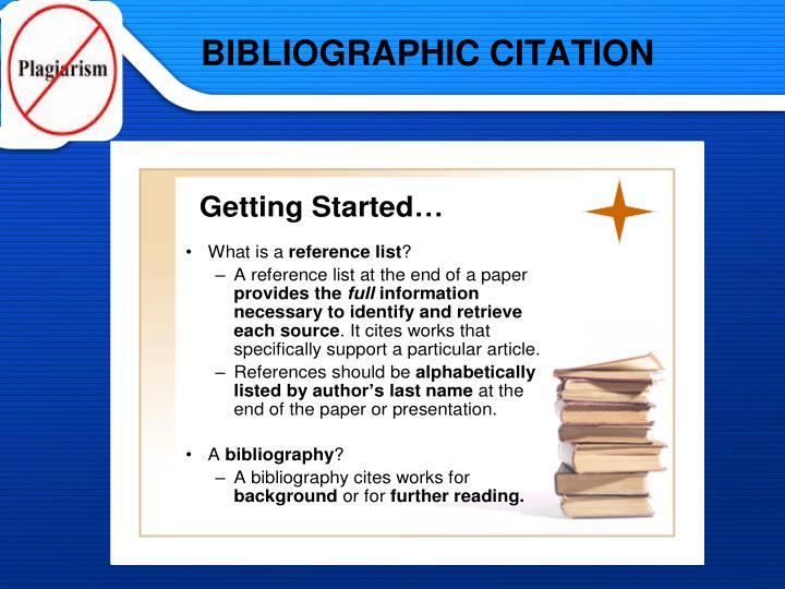 BIBLIOGRAPHIC CITATION