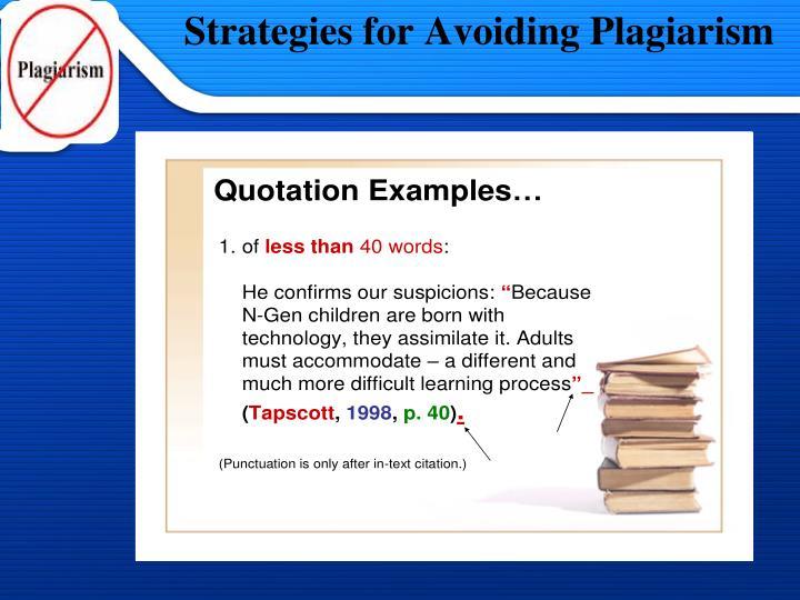 Strategies for Avoiding Plagiarism