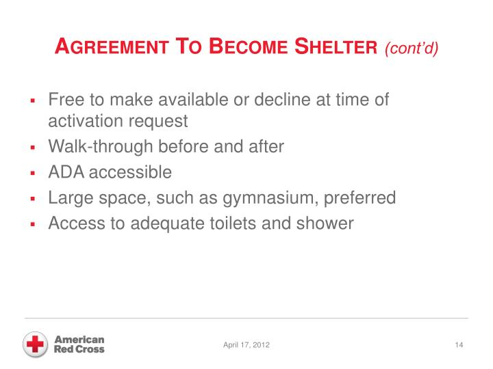 Agreement To Become Shelter