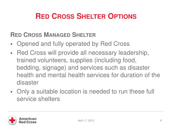 Red Cross Shelter Options