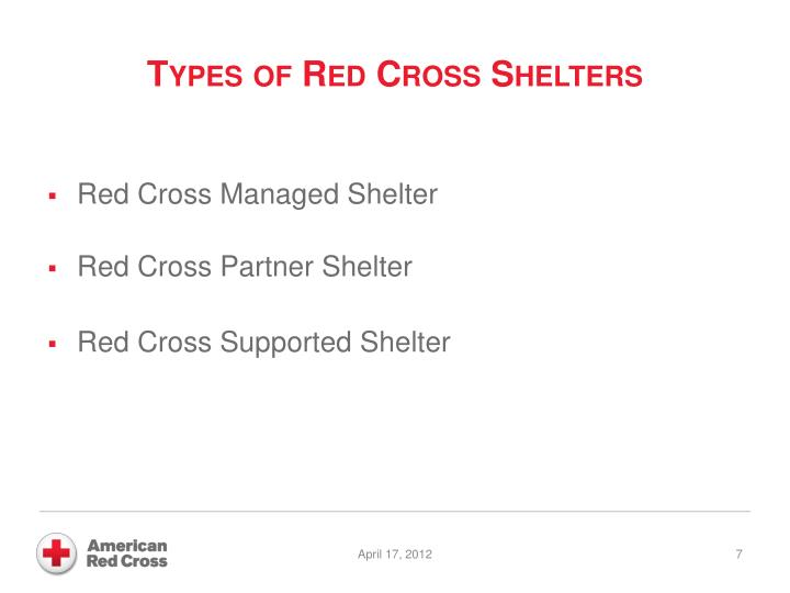 Types of Red Cross Shelters