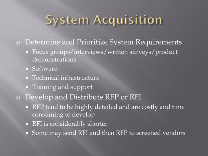 System Acquisition