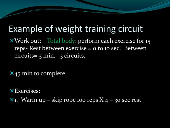 Example of weight training circuit