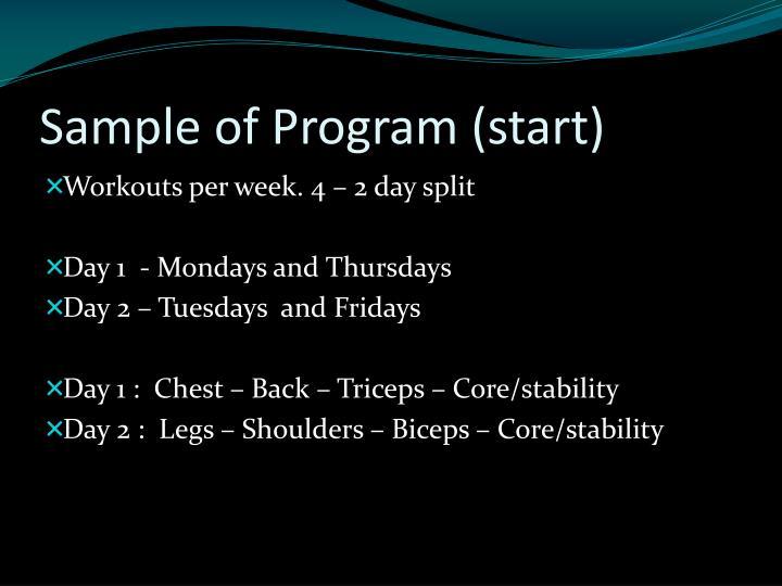 Sample of Program (start)