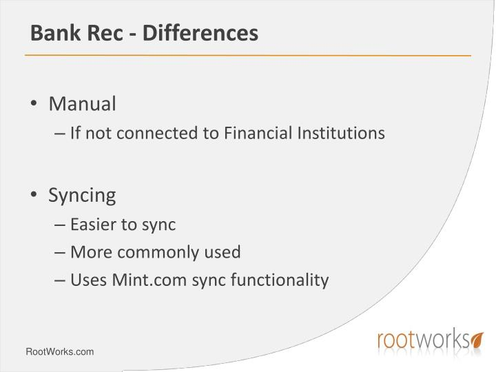 Bank Rec	- Differences