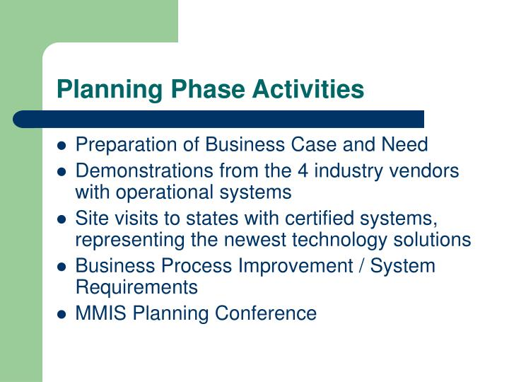Planning Phase Activities
