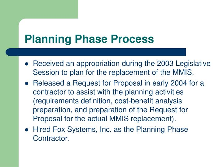 Planning phase process