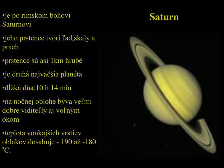 je po rímskom bohovi Saturnov