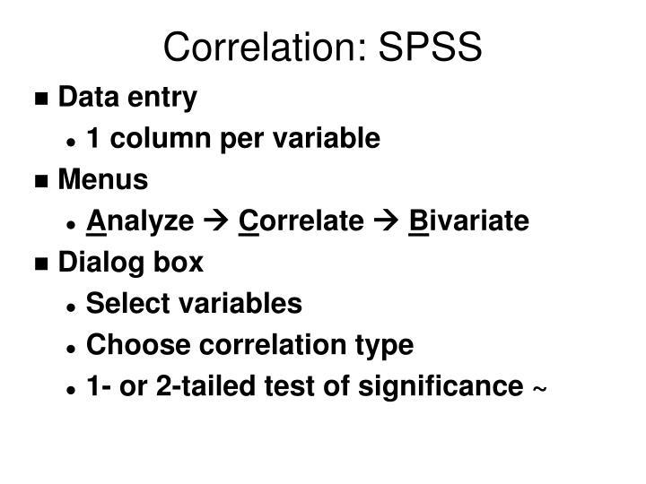 Correlation: SPSS