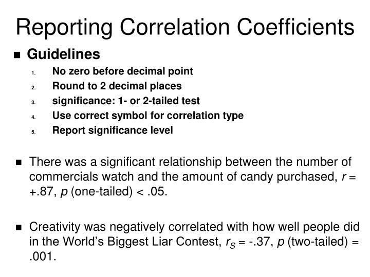 Reporting Correlation Coefficients