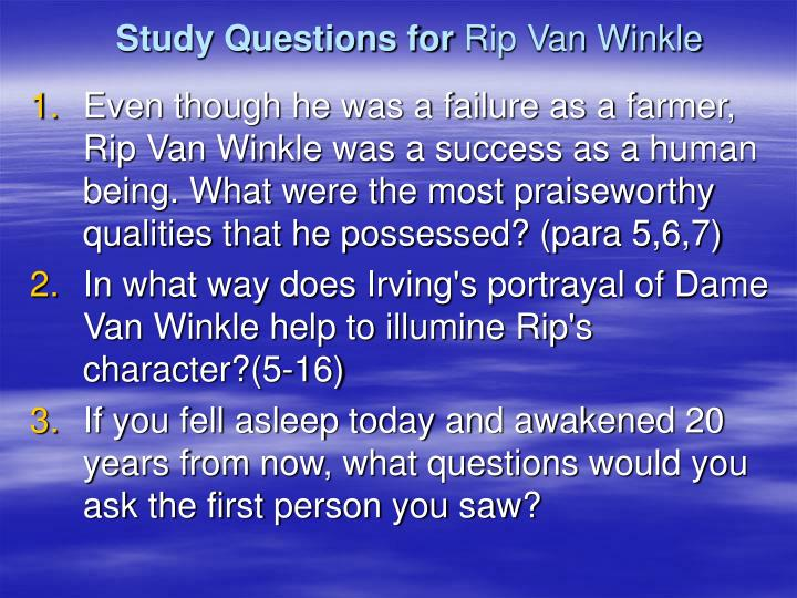 analysis rip van winkle s character essay Are you assigned to write rip van winkle analysis  washington irving's rip van winkle,  the main character rip falls into a deep sleep for many years and.