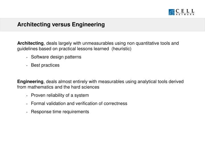 Architecting versus Engineering
