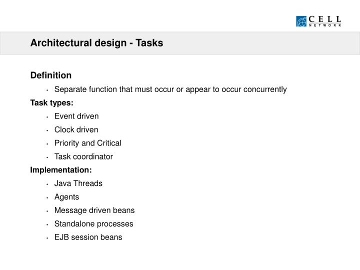 Architectural design - Tasks