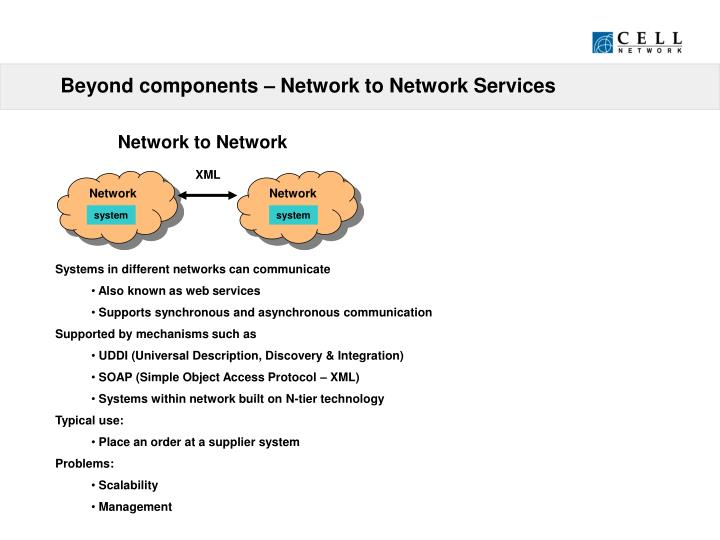 Beyond components – Network to Network Services