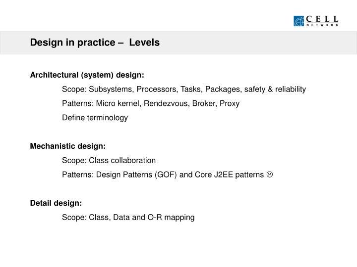 Design in practice –  Levels