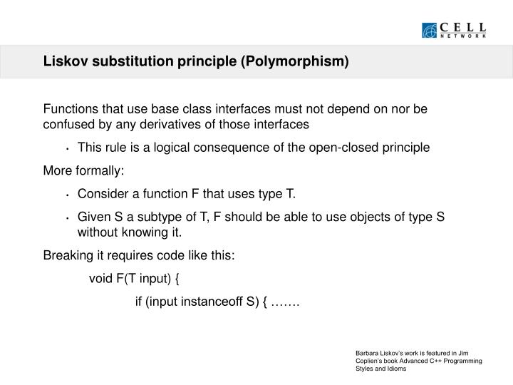 Liskov substitution principle (Polymorphism)