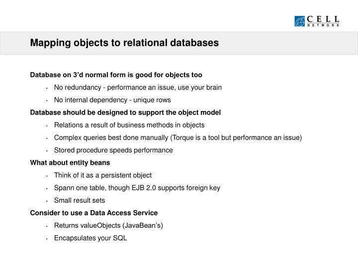 Mapping objects to relational databases