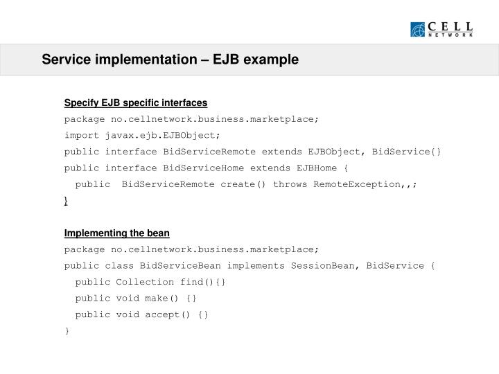 Service implementation – EJB example