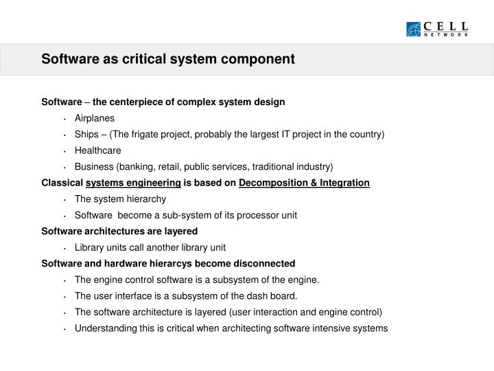 Software as critical system component