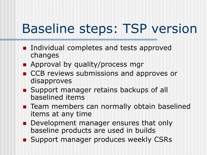 Baseline steps: TSP version