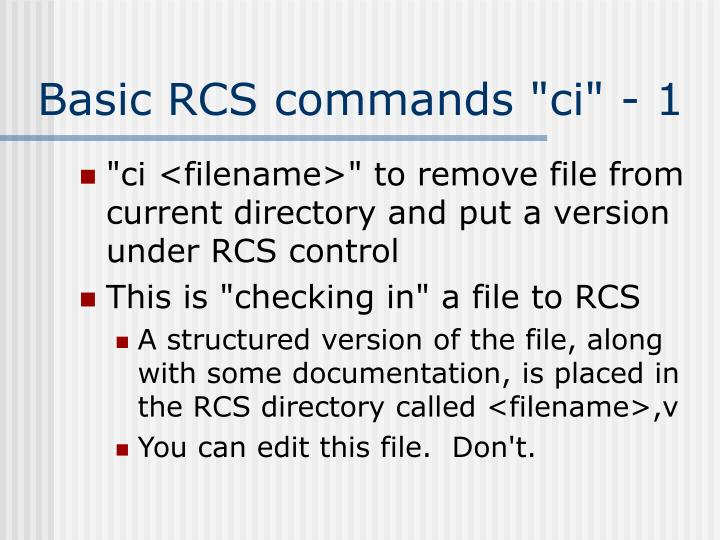 "Basic RCS commands ""ci"" - 1"