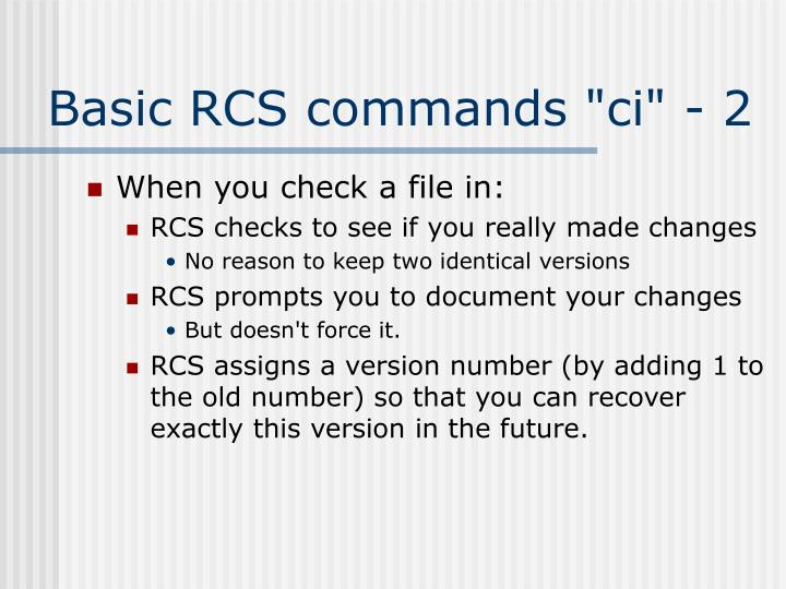 "Basic RCS commands ""ci"" - 2"