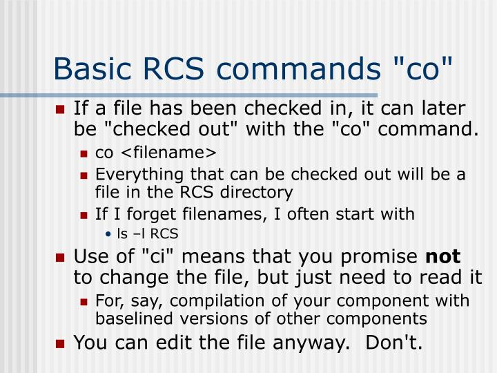 "Basic RCS commands ""co"""