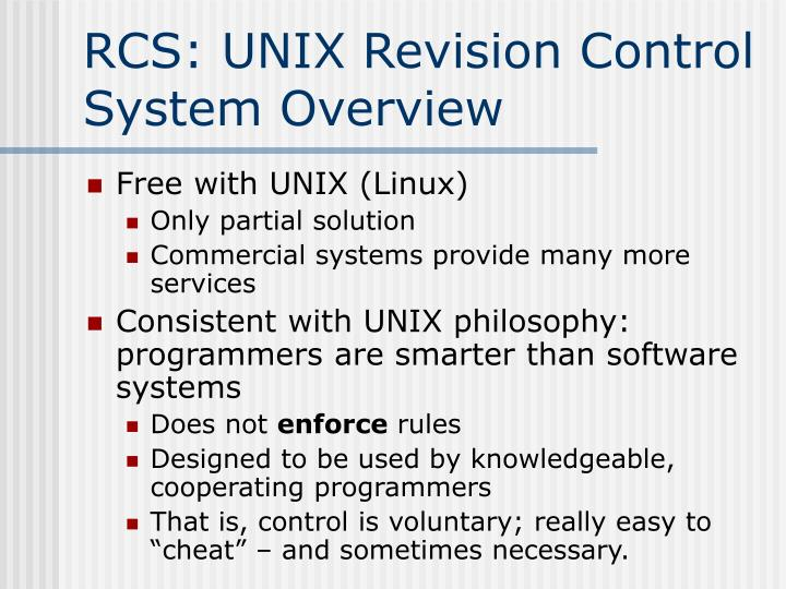 RCS: UNIX Revision Control System Overview