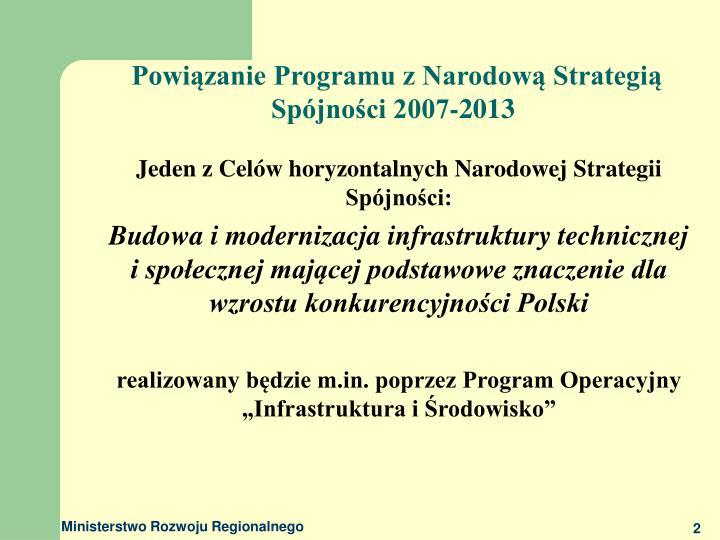 Powiązanie Programu z Narodową Strategią Spójności 2007-2013