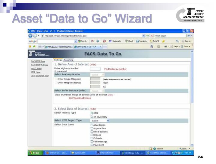 "Asset ""Data to Go"" Wizard"