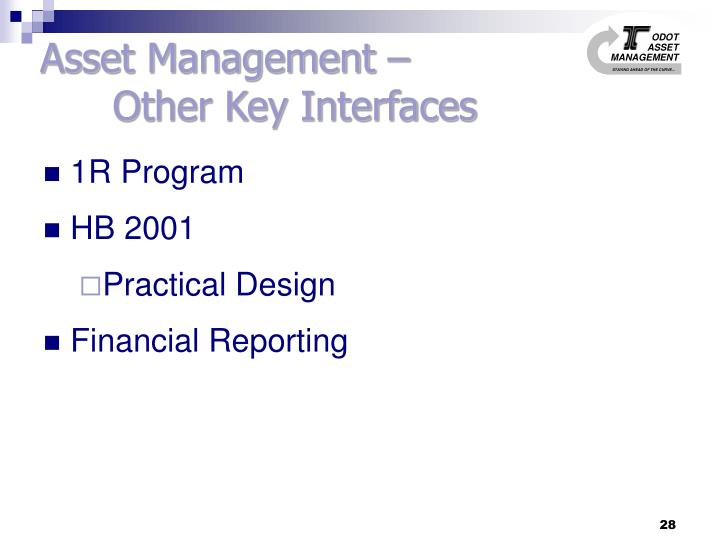Asset Management –               Other Key Interfaces