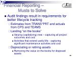 financial reporting musts to solve