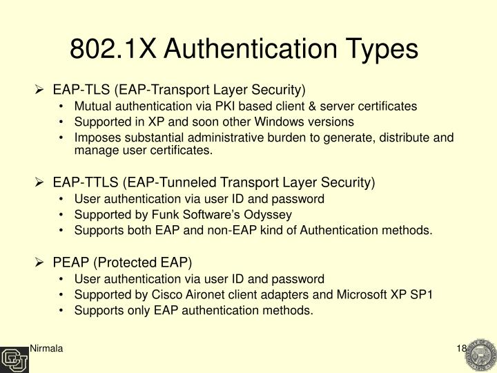 802.1X Authentication Types