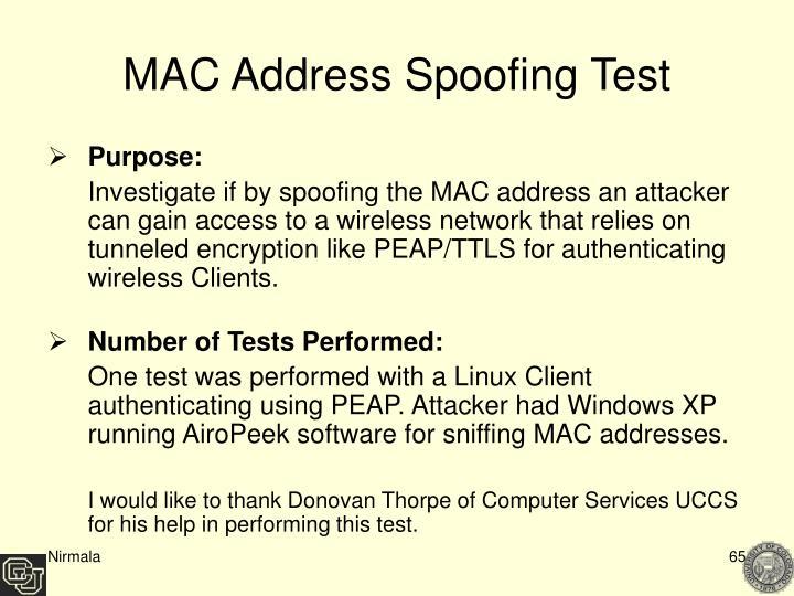 MAC Address Spoofing Test