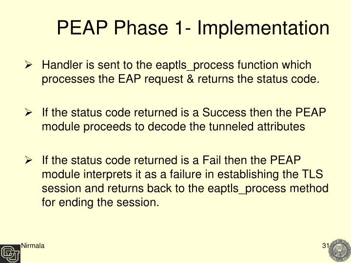 PEAP Phase 1- Implementation
