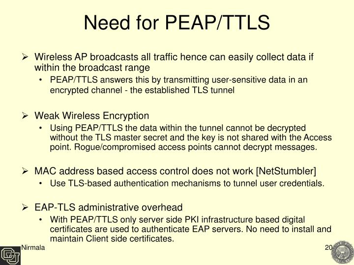 Need for PEAP/TTLS