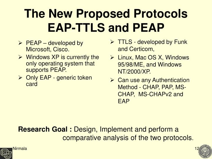 PEAP – developed by Microsoft, Cisco.