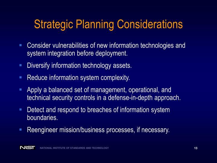 Strategic Planning Considerations