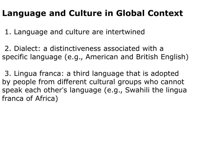 Language and Culture in Global Context