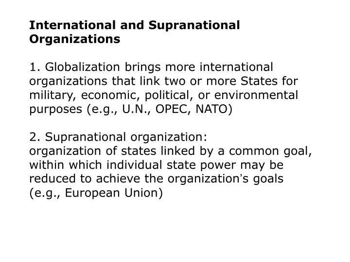 International and Supranational Organizations