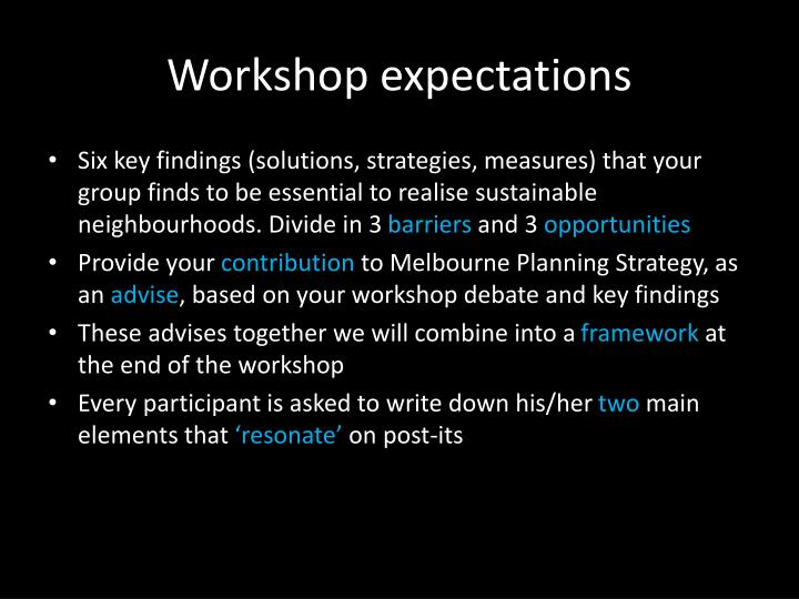 Workshop expectations