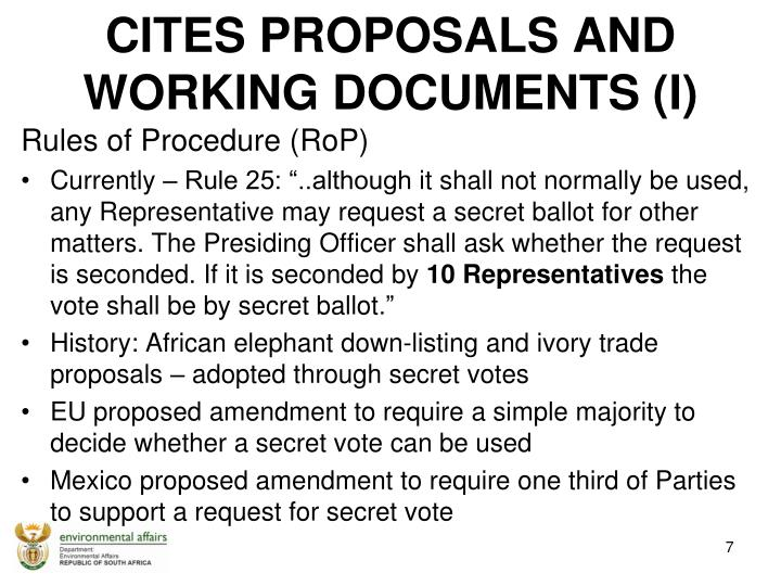 CITES PROPOSALS AND  WORKING DOCUMENTS (I)