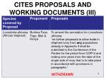 cites proposals and working documents iii
