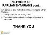 network of parliamentarians cont