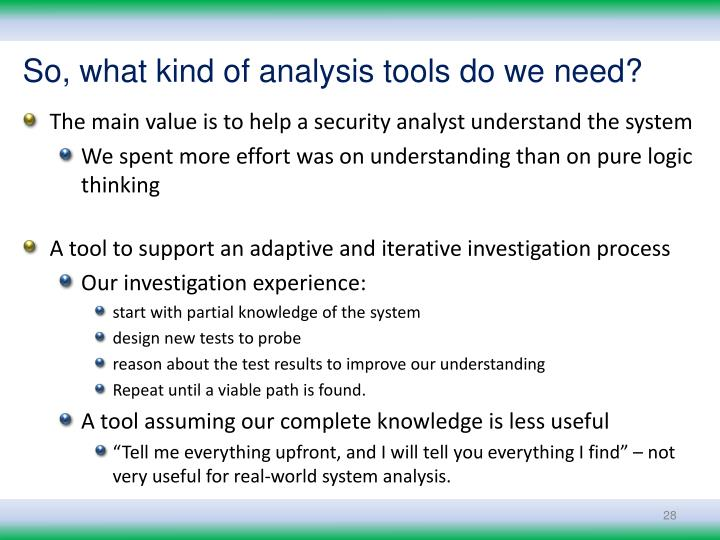 So, what kind of analysis tools do we need?