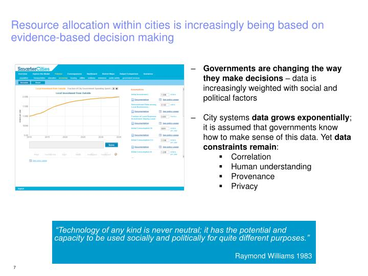 Resource allocation within cities is increasingly being based on evidence-based decision making