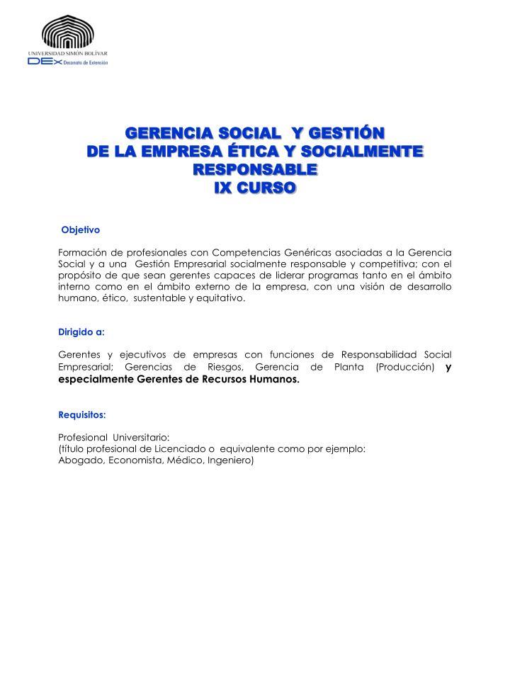 GERENCIA SOCIAL  Y GESTIÓN