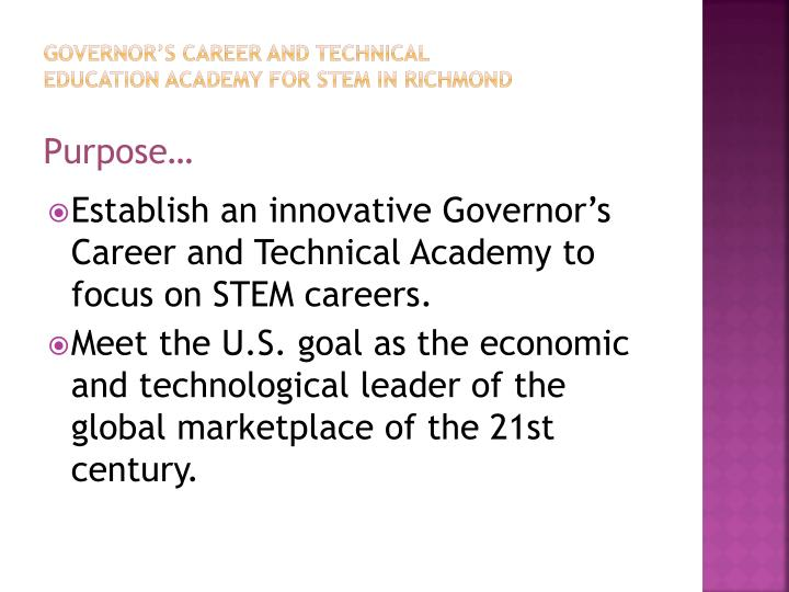 Governor's Career and Technical Education Academy For STEM in Richmond