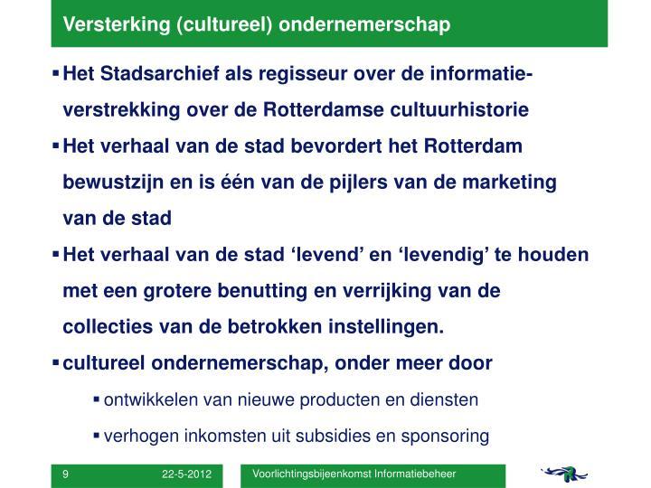 Versterking (cultureel) ondernemerschap