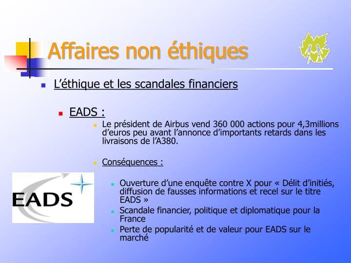 Affaires non éthiques